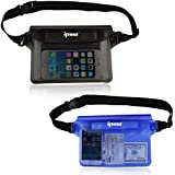 [2 Pack] Ipow Waterproof Pouch Bag Case Waist Strap for Beach, Swim, Boating, Kayaking, Hiking, Etc - Protect Iphone, Cellphone, Camera, Cash, Mp3, Passport, Document From Water, Sand, Snow, Dust and Dirt