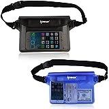 [ 2 Pack ] Ipow Wasserdichte Tasche Beutel Hülle Unterwassertasche Bauchtasche vollkommen für iPhone, Handy, Kamera, iPad, Bargeld, Dokumente vor Wasser schützen (schwarz+ blau)