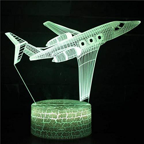 KAIYED Nachtlicht Private Jet Air Plane USB Schreibtischlampe 7 Farbwechsel 3D Nachtlicht Remote Touch Switct Baby Schlafzimmer Tischlampe (Modell Privat-jet)