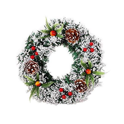 Anna-neek Couronne Décoration de Noël Couronne D'automne Guirlande de Noël Artificielles Fait à Main, Couronne de Fleurs Idéal Déco Noël pour Votre Porte, Mur ou Fenêtre, Cheminée Murale