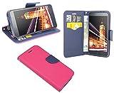 ENERGMiX Alcatel Pop 4 (5051D) 5.0 Zoll//Buchtasche Hülle Case Tasche Wallet BookStyle mit STANDFUNKTION in Pink-Blau (2-Farbig)