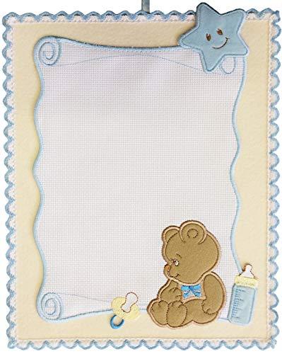 Coccarda nascita pergamena orsetto da bimbo azzurra con tela aida da ricamare