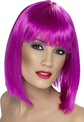 Smiffys Damen Kurzer Blunt Haarschnitt mit Pony Perücke, Glam Perücke, Neon Violett, One Size, 42141