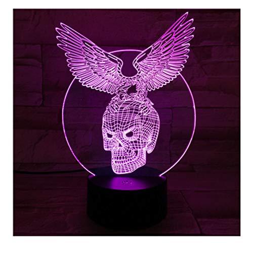 Acryl Panel Schädel Flügel 3D Lava Lampe Farbwechsel Led Nachtlicht Schlafzimmer Tischlampe Romantische Moderne Dekor ()