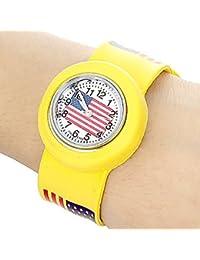 Relojes Hermosos, Nosotros los niños patrón de reloj de cuarzo de mini banda elástica ( Color : Amarillo )