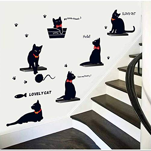 LETAMG Stickers Muraux Famille Sticker Mural PVC Mignon Salon Fond Escaliers Autocollants sur Le Mur Decal Deco Home Decor Decal