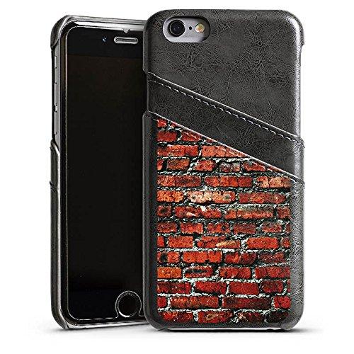 Apple iPhone 5s Housse Étui Protection Coque Brique Paroi en pierres Pierres rouges Étui en cuir gris