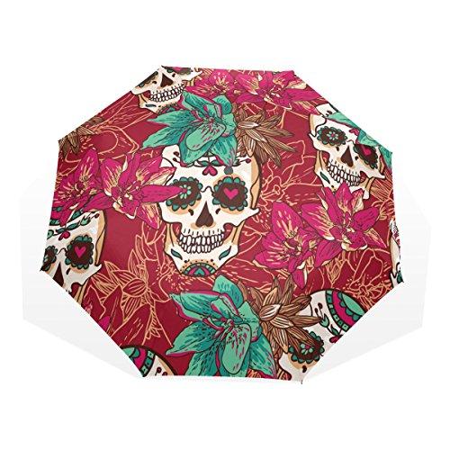 GUKENQ - Paraguas de Viaje, diseño de Calavera, diseño de Corazones y Flores, Ligero, antirayos UV, para Hombres, Mujeres y niños, Resistente al Viento, Plegable y Compacto