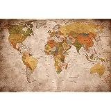 Great-Art Wallpaper Design World Map - Vintage Retro - XXL World Map Wall Art - Wall Decoration