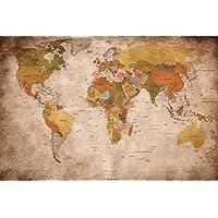 GREAT ART Carte du Monde Décoration Murale Vintageet Rétro (140 x 100 cm)