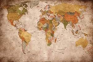 GREAT ART Affiche vue usage - Décoration murale carte géographie mondiale atlas continental map d une ecole ancienne | mur deco Poster mural Image by (140 x 100 cm)
