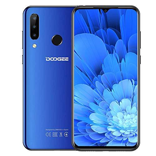 DOOGEE N20 (2019) 4G Téléphones Mobiles Portables débloqués, 6,3 Pouces FHD+ Écran Smartphones Android 9.0 Core 4 Go de RAM 64 Go de ROM, Caméra 16 MP + 16 MP + 8 MP, 4350 mAh Dual SIM Bleu