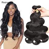 Body Wave Virgin Hair Bundles 100% non transformés, Extensions de cheveux humains de Malaisie, noir naturel (12 14 16 18 pouces, faisceaux d'ondes corporelles)