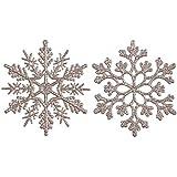Sea Team Weihnachtsornamente Schneeflocken aus Kunststoff, Glitzer, Dekorationen, ca. 10 cm, Set von 36 pale gold
