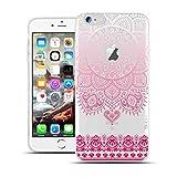 HULI Design Case Hülle für Apple iPhone 7 Smartphone im Orientalischen Muster weiß/pink - Schutzhülle klar aus Silikon mit orientalischem Mandala Sonnenmuster Henna Ornament Traumfänger - Handyhülle