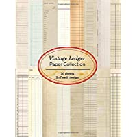 Vintage Ledger Paper Collection: 20 sheets of vintage ledger papers for bookmaking, junk journaling and other paper…