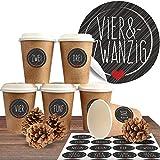 """Adventskalender zum Befüllen mit 24 Coffee-to-Go-Bechern (100% biologisch abbaubar) zum selber basteln (DIY Set) inkl. 24 weihnachtlichen Aufklebern """"Schick und Schwarz"""""""