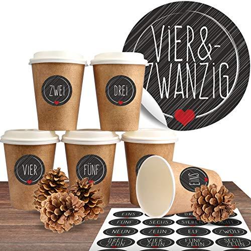 """Adventskalender zum Befüllen mit 24 Coffee-to-Go-Bechern (100{3f659d4f0d09d826106c584247642e99d9e5d6b4ef89224a86a670ece127486a} biologisch abbaubar) zum selber basteln (DIY Set) inkl. 24 weihnachtlichen Aufklebern \""""Schick und Schwarz\"""""""
