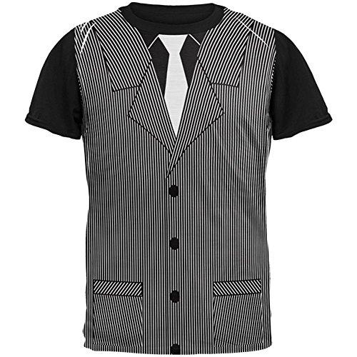 Halloween 20er Jahre Gangster Kostüm in aller Herren Schwarz zurück T Shirt Multi (Jahr Halloween Olds Kostüme Für Ein)