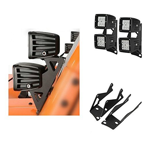 u-Box Windshield Hinge Lower Corner Double Pillar Mount Brackets A Pillar Mounting Bracket For Dual LED Work Light for 2007 - 2016 Jeep Wrangler JK (Pack of 2Pcs) by u-Box Lower Mount
