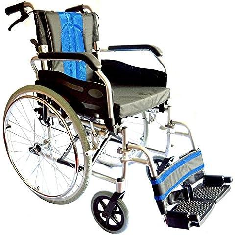 Aluminio ligero plegable auto de propulsión para sillas de ruedas con asiento de 50 cm de ancho
