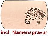 Frühstücksbrett Brotzeitbrett Pferd 24 x 15 cm Holzbrett mit Namensgravur