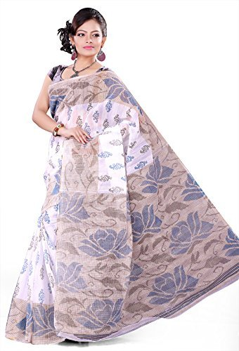 E-Vastram Women's Cotton Printed Saree (GPW_Off-White)