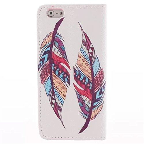 """MCHSHOP(TM) Vielzahl von Mustern Book Style Design Leder Tasche Flip Case Cover Schutzhülle Etui Hülle Schale Für Apple iPhone 6 Case 4.7"""" mit Kartensteckplätze Standfunktion - 1 Touch pen kostenlos ( Tribal Aztec Feder (Tribal Aztec Feather)"""