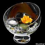 Fuente de cristal redonda Nantes Altura 19cm diámetro 19cm. inclinada Cuenco (Cristal con Decoración Rose Amarillo de naranja. Deko–Bol con durchgängigen Soporte de cristal König
