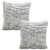Mojawo 2 Stück Hochwertige Kissenbezüge Kissenhülle Bezüge Sofa Kissen Fell-Optik 50x50cm grau Reißverschluss