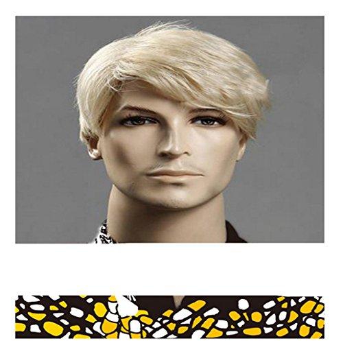 Herren Perücke blond hitzebeständig Premium Synthetik Perücke ()