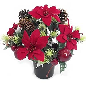 CHRISTMAS - an artificial red poinsettia memorial vase pot
