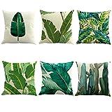 Conjunto de 6 Moda patrón de hojas tropicales Funda de almohada de Lino Sofá Decoración Cojín 45x45cm 18X18 pulgadas