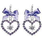 Trachten Ohrhänger Herz mit Edelweiß mit funkelnden Swarovskisteinen und Satinschleife versch. Farben