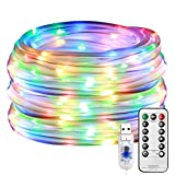 SUNICOL LED Rope Light, 10M 100LEDs Waterproof USB Operated Outdoor String Light, 8 Modes LED Fairy Strip Light for Garden Patio Christmas (Colourful)