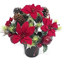 CHRISTMAS - an artificial red poinsettia memorial vase pot - grave side