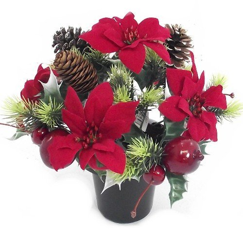Permabloom CHRISTMAS - an artificial red poinsettia memorial vase pot - grave side