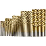 fortag 50piezas Juego de brocas HSS Titanium HSS Broca espiral para metal Broca espiral brocas en espiral para mano Sets profesional Drill Bit 1mm de 3mm