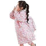 Kinder Jungen-u. Mädchen-Karikatur-Regenmantel mit Schultasche-Sitz-Rosa-Kreis / 135-150cm