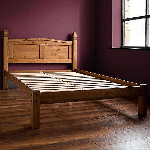 Vida Designs Corona King Size Bed, 5 Foot, Low Foot End Bed Frame, Solid Pine Wood