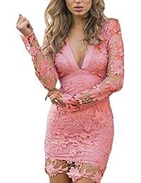 Donna Vestiti Da Sera Eleganti Cerimonia Mini Matita Abito Vintage Vestito  Tubino In Pizzo Bodycon V d71369f4fb8