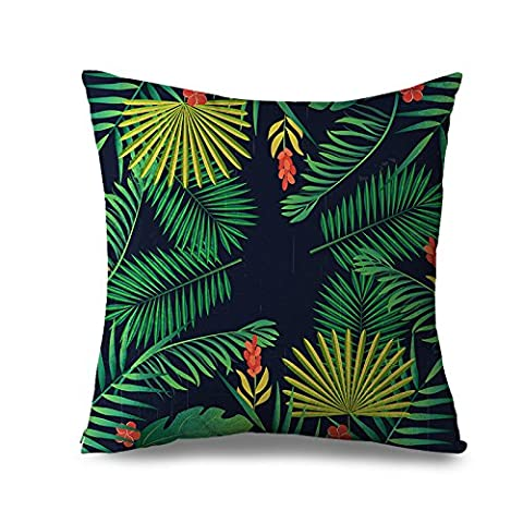 Tropical Cushion Pillow Case Green Palm Leaves Pattern Home Decor Canvas Accent Pillow Covers 45x45cm Square Black Sofa Throw Pillows for