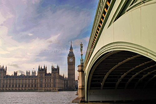 Houses Of Parliament eine 45,7 x 30,5 cm Fotografieren Hochwertiger Fotodruck der Houses of Parliament Big Ben und Westminster Bridge London England UK Landschaft Foto Farbe Bild -
