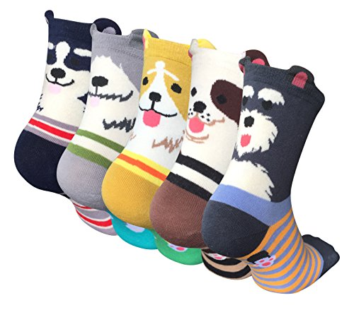 Pack of 5 Womens Cute Animal Socks Colorful Funny Casual Cotton Crew Socks