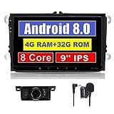 Android 8.0 autoradio doppio 2 DIN 22,9 cm touch screen capacitivo IPS pannello sistema di navigazione GPS per VW Volksvagen Golf Passat Polo Tiguan Jetta Skoda Seat Octa-Core 4 G RAM free DAB + box
