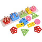 Brain Giggles Wooden Educational Toys, Wooden Shape Color Sorting Preschool Stacking Blocks Toddler Puzzles Toys Birthday Gif