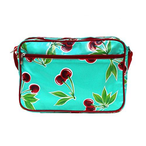 IKURI Handtasche - Tasche Für Frauen Umhängetasche Wasserdicht Messenger bag Schultertasche aus Wachstuch - In turkis mit Cerezas