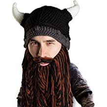 Beard Head Bonnet Barbe \u2013 Viking Guerrier \u2013 Bonnet Drôle à Cornes et