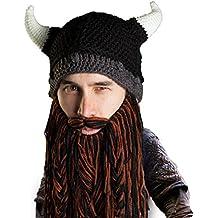 Beard Head Bonnet Barbe \u2013 Viking Guerrier \u2013 Bonnet Drôle à Cornes et