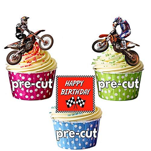 Happy Birthday Motocross Mix-12Esspapier Cup Cake Topper Kuchen Dekorationen (Happy Birthday Essbare Kuchen Bilder)